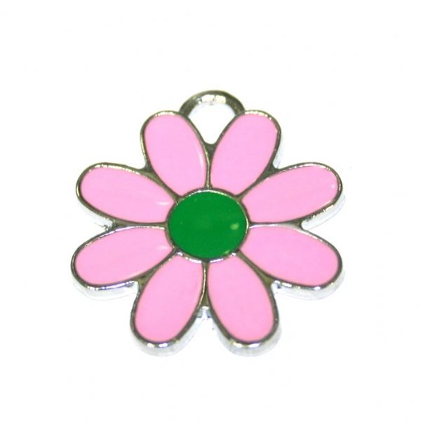 1 x 22*22mm rhodium plated pink daisy with green bud enamel charm - SD03 - CHE1281